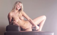 breasty blonde teen dildoing snatch