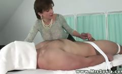 Big titted euro teases guy by pulling cock