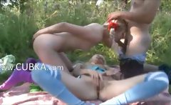 Precize amateur threesome in the public