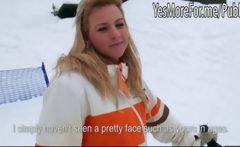 Blonde shows tits and ass in the snow