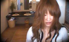 Lovely Asian girl enjoys surprising