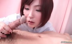 Horny Japanese nurse sucking off