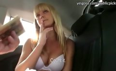 Pretty Czech girl paid for sex in a car