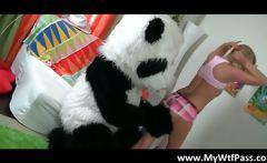 Naughty schoolgirl gets fucked by panda
