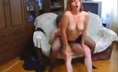 Mature Russian MILF fucked by young dude