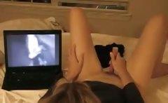 Olivia masturbates while watching wanking boys