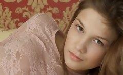 Petite 19yo girl teasing herself on bed