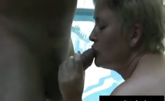 Mom Tracey with cum boobs by swimming pool