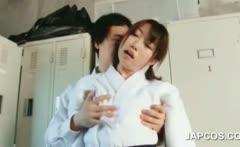 Asian shy girl seduced by horny teacher in the locker room