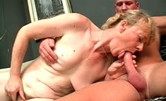 Nasty fat blonde MILF slut with big tits
