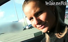 Eurobabe Holly fucked in a car for cash