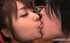 Japanese redhead sweetie sensually tongue kissing