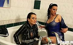 fully clothed euro milk bath