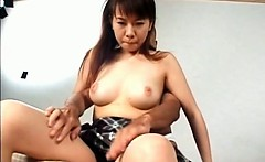 Sweet asian girl gets tits and pussy teased in bed