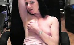 Awesome busty brunette slut having fun