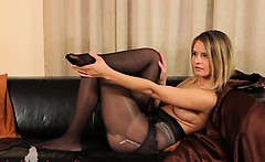Black pantyhose and ultra hot pants