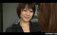 Nympho Japanese mommy teaching school babe all about sex