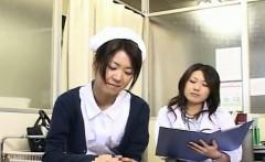 Subtitled CFNM Japanese milf doctor and nurse handjob