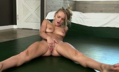 This hot blonde is going to stretch for you