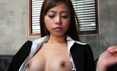 Tempting jap office babe gets her big tits sucked on good