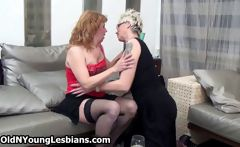 Two sexy mature housewifes love playing