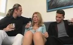 Hot Blonde Mom Enjoying A Threesome