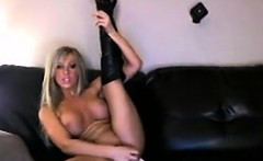 Busty Blonde Babe With A Long Dildo