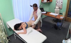 Sexy brunette patient bent over banged in fake hospital