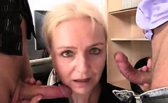 Two guys seduce old blonde - She is on MILF-MEET.COM