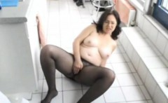 Cleaning in pantyhose before my Masturbation
