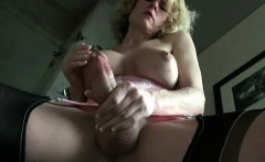 Horny mature tranny tastes her cock juices