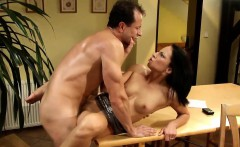 Gorgeous brunette has her juicy cunt penetrated