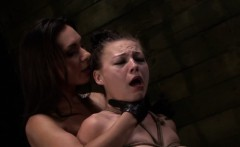 Tattooed Mistress Dominates Nasty Brunette Babe