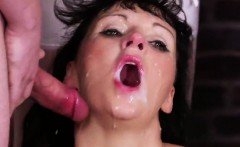 Kinky beauty gets jizz shot on her face gulping all the jism