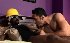 Muscled hunk sucks a thick hard cock and gets his ass fucked