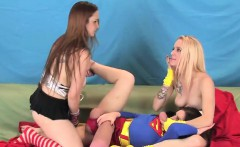 Sexy teenies nail the biggest strap-ons and spray cum everyw