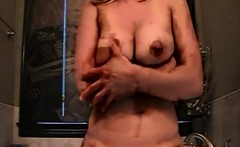 Sexy mom masturbates with dildo that is large