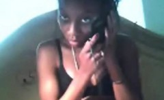 Young ebony plays on camera