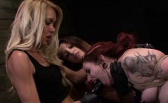Tiedup redhead submissive punished by lezdoms