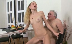 Mad old fucker is cheerful to slam pussy of a young girl