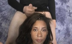 Black Ghetto Slut Gets Face Smashed By White Guys Dicks