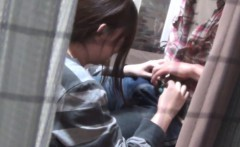 Japanese teen rides cock