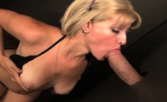 Sweet blonde amazed with big cock comes out of glory hole