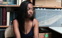 Shy ebony shoplifter got caught and fucks with the security