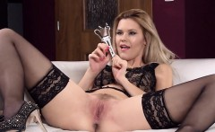 Horny czech cutie gapes her pink vagina to the unusual