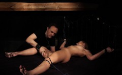 Bondage slave in sensual BDSM fetish sex with spanking