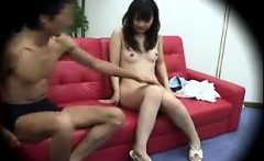 Petite Japanese cutie with tiny boobs has fun with a guy on