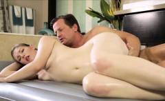 Hot brunette masseuse gets pumped by her nasty client