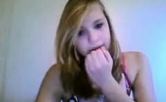 Cute blonde fingering on webcam