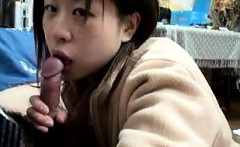 Short Haired Asian in POV Blowjob